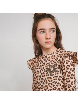 Vestido volantes leopardo...