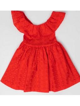 Vestido perforado rojo FINA...